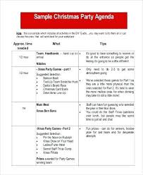 Party Agenda Sample Christmas Party Agenda Template Amend House Free Deepwaters Info