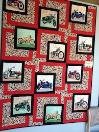 312 best PANELS images on Pinterest | Quilt patterns, Easy quilts ... & A good way to use a panel of motorcycle fabric Adamdwight.com