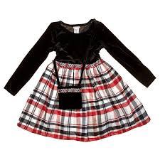 Girls Jeweled Waist Dress With Plaid Print Skirt Bonus