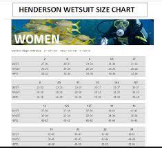 Henderson Size Chart Women Yukon Scuba