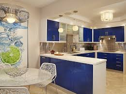 View in gallery Fresh blue and white color scheme for your kitchen