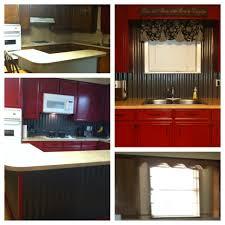 Tin Backsplashes For Kitchens Corrugated Tin Backsplash Island W Barn Red Cabinets Our Diy