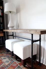 black sofa table. We Made A Console Table Out Of Black Pipe And Wood Salvaged From Barn That Belonged To His Family In Michigan. I\u0027m Really Happy With How It Turned Out! Sofa