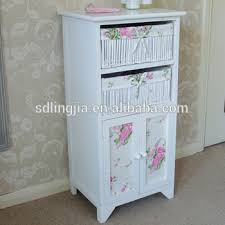 white storage unit wicker: white floral wicker basket storage cabinet unit with cupboard bathroom girls bedroom