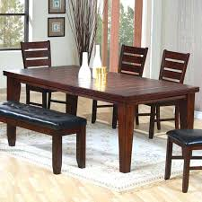 simple brown wooden dining table idea with decoration and chairs black upholstered bench set room 2