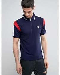 fila vintage polo. fila vintage polo shirt with panel sleeve - navy. \
