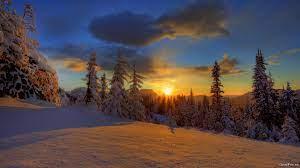 Beautiful, winter, sunset, wallpaper ...