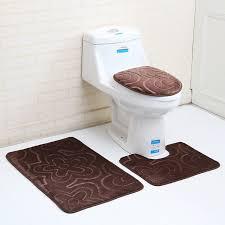 flannel 3pcs bathroom mat sets microfiber geometric modern anti slip bath mat modern bathroom rug and