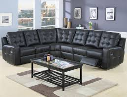 furniture sectional sofas reclining black faux leather