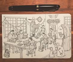 important drawing of important people reading important books art drawing sketch moleskine fountainpen ink books library