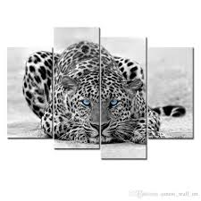 black white wall art painting blue eyed leopard prints on canvas the picture with wooden framed for home decoration wall art painting leopard painting oil  on snow leopard canvas wall art with black white wall art painting blue eyed leopard prints on canvas