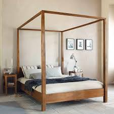 wood canopy bed frame queen for perfect queen bed dimensions