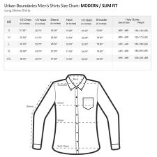 Shirt Size Chart Mens Size Charts Urban Boundaries