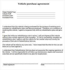 Vehicle Purchase Agreement Template Sample Agreement Letters 5