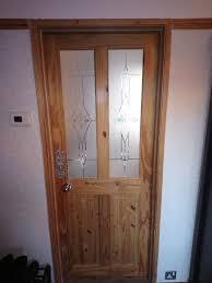 soild pine door with glass panes