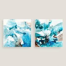 on abstract wall art set of 2 with abstract blues canvas wall art