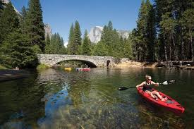 kayaking and floating on the merced river in yosemite