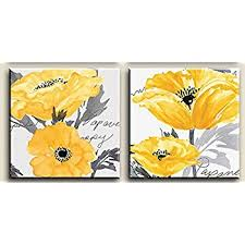 gray and yellow flower wall art