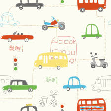 Little Boys Bedroom Wallpaper Fine Decor Rush Hour Hoopla Wallpaper Red Green Yellow