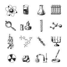 装飾的な科学的な地球化学研究機器記号と分子式落書きスケッチ色バナー