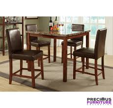 Pub Height Kitchen Table Sets Poundex F2542 5 Piece Faux Marble Counter Height Dining Table Set
