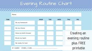 Printable Shower Chart Kids Evening Routine Checklist With Free Printable