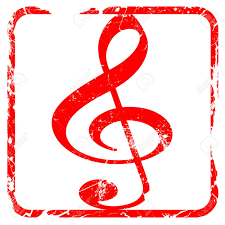 music note stamp music note background with some soft smooth lines red rubber