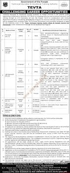government of punjab technical education vocational training government of punjab technical education vocational training authority jobs nawaiwaqt jobs ads 18 2016