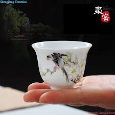 jingdezhen ceramic painting of flowers and individual cup single cup colored enamel sample tea cup masters