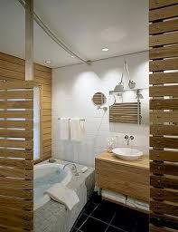 tropical wood plank master bath