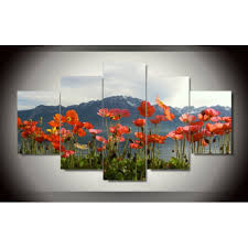 red poppies oil painting poppy wall art in yellow beautiful red modern home decoration printed