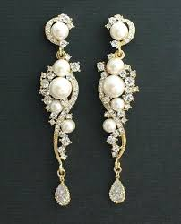 crystal chandelier earrings for wedding crystal and pearl bridal chandelier wedding earrings rhinestone and pearl gold