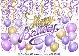 Violet Gold Balloons Happy Birthday Background Vector Art