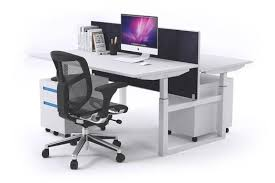 ... Sit-Stand - 2 Person Workstation Electric Height Adjustable Stand-up  [1200L x ...