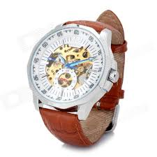 fashion full automatic mechanical wrist watch for men white fashion full automatic mechanical wrist watch for men white brown