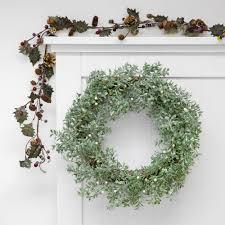 Wreaths By Design Walker La Glitter Leaf Wreath With Pearl Berries Silver