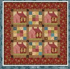 """Quilt Inspiration: Free pattern day! House quilts & Around the Corner, 41 x 53"""", free log cabin house quilt pattern by Flavin  Glover Adamdwight.com"""