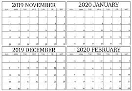 Blank November 2019 To February 2020 Calendar Magic