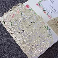 Glitter Gold Wedding Invitation Cards Transparent Envelop Personalized Rsvp Insert Laser Cut