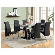 dining table set under 50. iohomes 7pc glass top open shelf base dining table set metal/black under 50