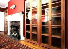 oak bookcase with glass doors bookcases oak bookshelf with glass doors