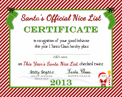 christmas certificates templates free printable nice list certificate from the north pole