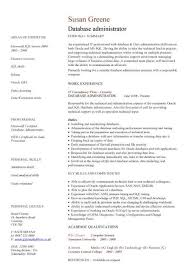 Administration Resume Templates Database Administrator Cv Sample Maintenance Of The Databases
