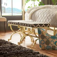 This Eleanor Moroccan Bench is a great way of re-imagining your bedroom  design! Pairing dark shades with bright splashes of colored pattern is a  unique way ...