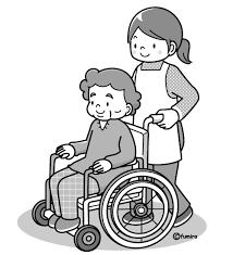 イラスト車椅子のおばあちゃんモノクロ 子供と動物のイラスト屋