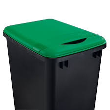 kitchen trash can with lid. Rev-A-Shelf Green Plastic Kitchen Trash Can Lid With S