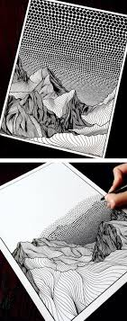 Creating dotted lines dot by dot can be tedious and annoying. Artist Draws Countless Lines And Dots To Capture The Majestic Beauty Of Mountains Sketch Book Mountain Drawing Art Inspiration