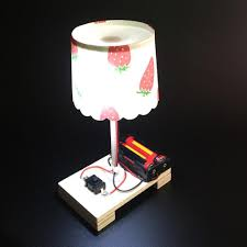 Diy Wooden Toys Switch Control Desk Lamp Learning Educational Assemble