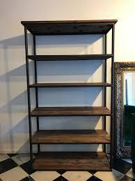 rustic solid wood shelveetal framed shelving unit 120cm wide x 46cm deep x
