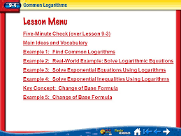 five minute check over lesson 9 3 main ideas and voary